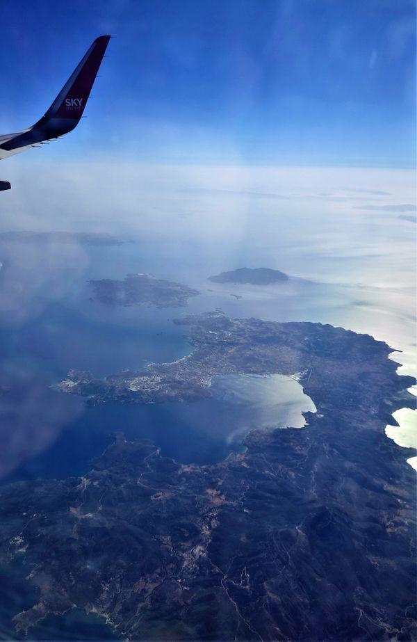 Santorini from above.