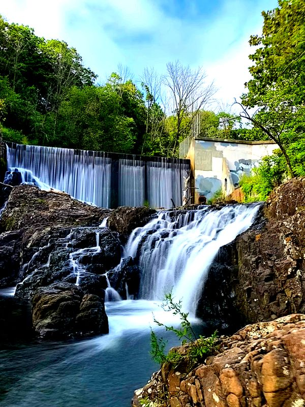 The waterfall at a dam