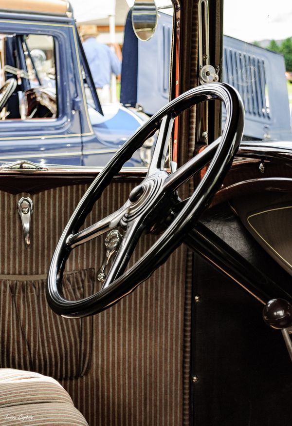 Interior and Steering Wheel Ford Model A - Vintage Interior