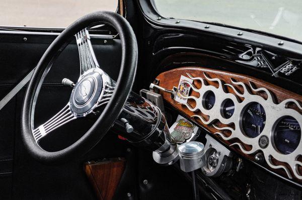 Custom chrome dash with flames - 1933 Chevrolet 2 Door Sedan Street Rod