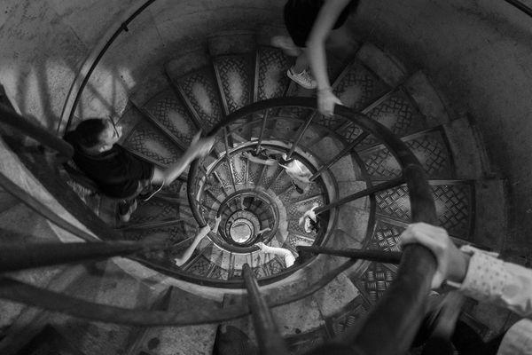 Walking up a circular staircase