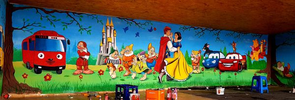 Painted on the wall of the kindergarten.