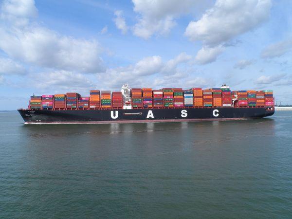 United Arab Shipping Company container ship at Southampton