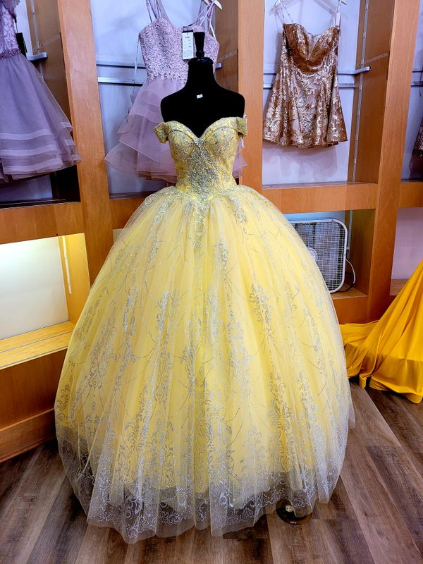 Yellow silver blue gown dress