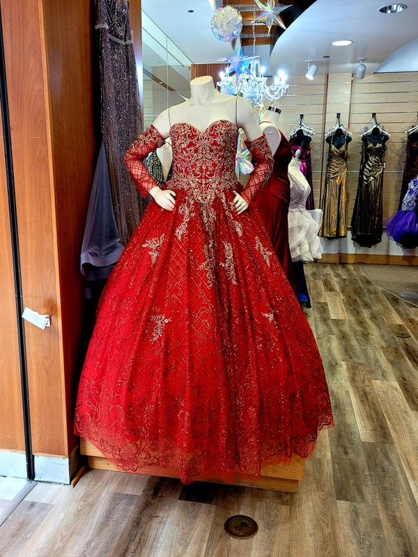 Red gold gown dress