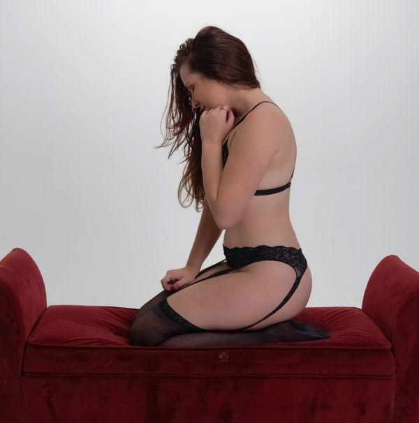 Taylor White, Kneeling in Black Lingerie, Profile, 305HotShots Studio, Ft. Lauderdale, FL, 2020-02-08
