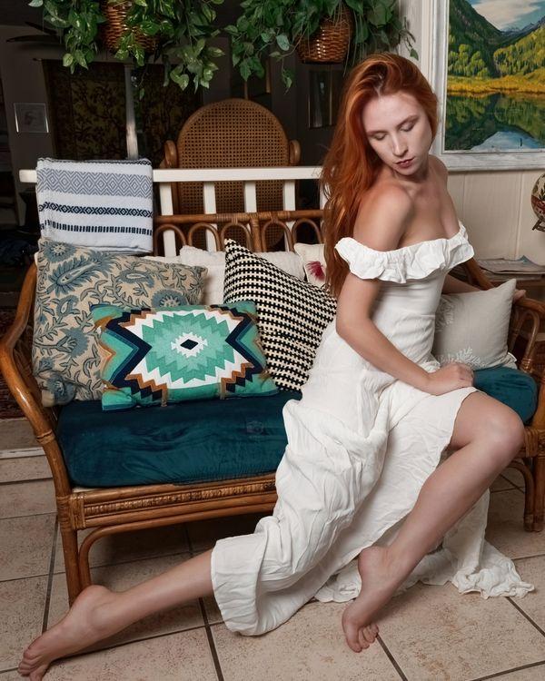 Astrid Kallsen in White Dress, Treasure Coast, FL, 6-20-2021