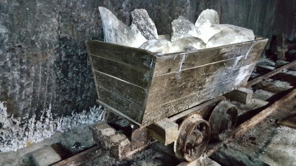 Old carriage in a salt mine