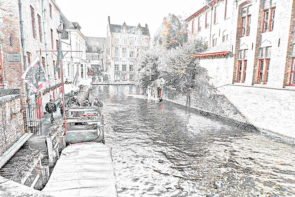 Pencil Sketch of a Canal in Bruges.